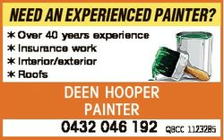 NEED AN EXPERIENCED PAINTER?  Over 40 years experience  Insurance work  Interior/exterior  Roofs DEE...
