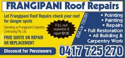 Frangipani roof repairs FREE QuotE on REPaiR oR REPlacEmEnt Discount for Pensioners 91 * Pointing *...