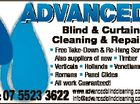 ADVANCED Blind & Curtain 6133859aa Cleaning & Repairs * Free Take-Down & Re-Hang Service Also suppliers of new * Timber * Verticals * Hollands * Venetians * Romans * Panel Glides * All work Guaranteed! www.advancedblindcleaning.com.au info@advancedblindcleaning.com.au Ph: 07 5523 3622