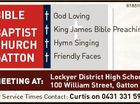 BIBLE BAPTIST CHURCH GATTON 6185165aa God Loving King James Bible Preaching Hymn Singing Friendly Faces Lockyer District High School MEETING AT: 100 William Street, Gatton For Service Times Contact: Curtis on 0431 331 597