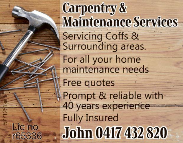 Carpentry & Maintenance Services   Servicing Coffs & Surrounding   F...