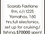 Ph Robert Ayr 0418 187 337 6452051aa Scarab Fastlane 9m, c/r f225 Yamahas, 160 hrs,full electonics, set up for cruising/ fishing,$70000 spent on refit in 2010, legal trailer available at extra cost,$58000.