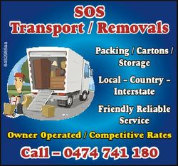 6452985aa SOS Transport / Removals Packing / Cartons / Storage Local - Country - Interstate Friendly...