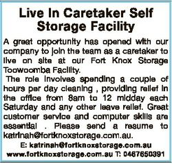 Live In Caretaker Self Storage Facility A great opportunity has opened with our company to join the...