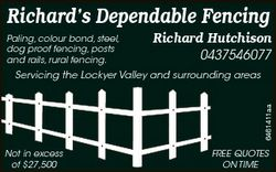 Richard's Dependable Fencing Paling, colour bond, steel, dog proof fencing, posts and rails, rur...