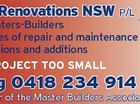 City Renovations NSW p/l 6421477aa Greg 0418 234 914 Member of the Master Builders Association BL: 236392c Carpenters-Builders All types of repair and maintenance work Alterations and additions NO PROJECT TOO SMALL