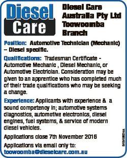 Diesel Care Australia Pty Ltd Toowoomba Branch 6464992aa Position: Automotive Technician (Mechanic)...