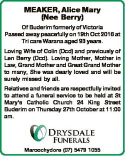 MEAKER, Alice Mary (Nee Berry) Of Buderim formerly of Victoria Passed away peacefully on 19th Oct 20...