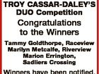 QT Magazine TROY CASSAR-DALEY'S DUO Competition Congratulations to the Winners Tammy Goldthorpe, Raceview Marilyn Metcalfe, Riverview Marion Errington, Sadliers Crossing Winners have been notified.