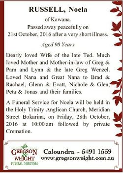 RUSSELL, Noela of Kawana. Passed away peacefully on 21st October, 2016 after a very short illness. A...