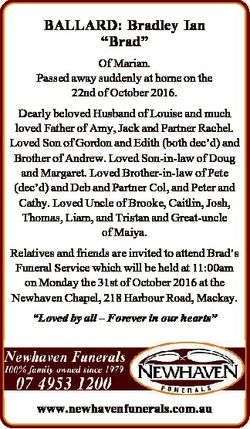"""BALLARD: Bradley Ian """"Brad"""" Of Marian. Passed away suddenly at home on the 22nd of October..."""