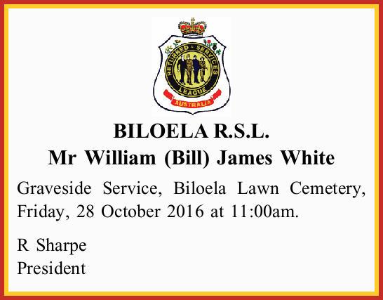 BILOELA R.S.L. Mr William (Bill) James White Graveside Service, Biloela Lawn Cemetery, Friday, 28...