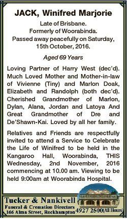 JACK, Winifred Marjorie Late of Brisbane. Formerly of Woorabinda. Passed away peacefully on Saturday...