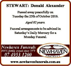 STEWART: Donald Alexander Passed away peacefully on Tuesday the 25th of October 2016. Aged 82 years....