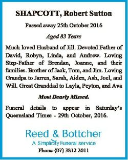 SHAPCOTT, Robert Sutton Passed away 25th October 2016 Aged 83 Years Much loved Husband of Jill. Devo...