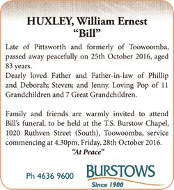 """""""Bill""""   Late of Pittsworth and formerly of Toowoomba, passed away peaceful..."""