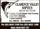 3865555acHC * Septic Tank & Grease Trap Pumping * Oil Water Removal * Vacuum Excavation * Drain Cleaning ALL AREAS - ALL HOURS Ph: (02) 6645 3100 Fax: (02) 6622 1389 Mob: 0429 662 127