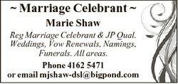 Marriage Celebrant  Marie Shaw Reg Marriage Celebrant & JP Qual. Weddings, Vow Renewals, Namings...