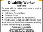 Disability Worker Part-time