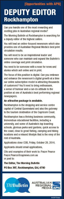 [Opportunities with APN] DePuty eDitOr rockhampton Can you handle one of the most rewarding and exci...