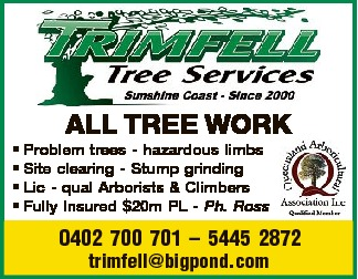 ALL TREE WORK * Problem trees - hazardous limbs * Site clearing - Stump grinding * Lic - qu...