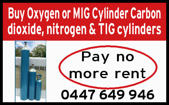 Buy Oxygen or MIG Cylinder Carbon dioxide, nitrogen & TIG cylinders Pay no more rent 04476499...