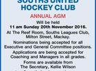 SOUTHS UNITED HOCKEY CLUB ANNUAL AGM