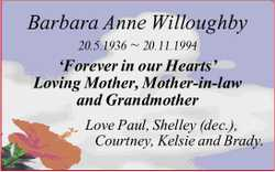 Barbara Anne Willoughby 20.5.1936 ~ 20.11.1994 'Forever in our Hearts' Loving Mother,...