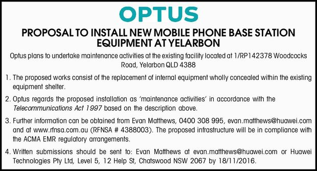PROPOSAL TO INSTALL NEW MOBILE PHONE BASE STATION EQUIPMENT AT YELARBON Optus plans to undertake...