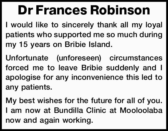 Dr Frances Robinson
