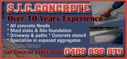 S.J.C.CONCRETE * All concrete Needs. * Shed slabs & Silo foundation. *Driveway & paths *...