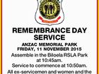 REMEMBRANCE DAY SERVICE ANZAC MEMORIAL PARK FRIDAY