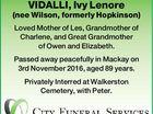 VIDALLI, Ivy Lenore (nee Wilson, formerly Hopkinson)