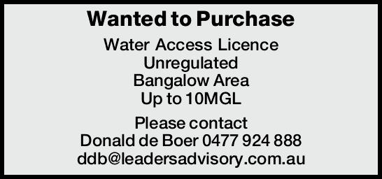Wanted to Purchase Water Access Licence Unregulated Bangalow Area Up to 10MGL Please contact Dona...
