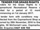 TENDER FOR GRASS RIGHTS