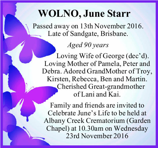 Passed away on 13th November 2016. Late of Sandgate, Brisbane.