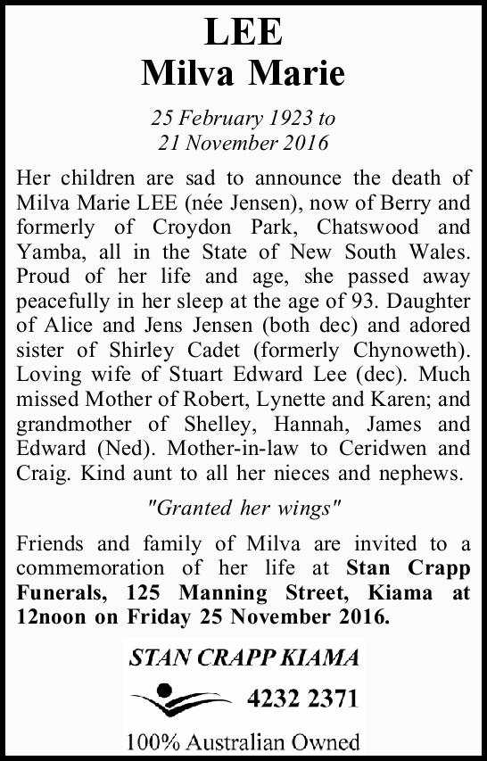 LEE Milva Marie 25 February 1923 to 21 November 2016 Her children are sad to announce the death o...