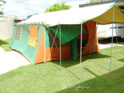 Large tent 12 x 15ft + 6ft kitchen fully screened with floor.