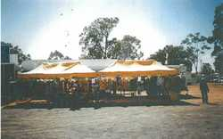 MARKET stall suit ladies clothing, 2x 6x3mtr gazebo's with side panels, framework and hangi...