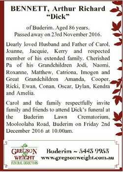 """BENNETT, Arthur Richard """"Dick"""" of Buderim. Aged 86 years. Passed away on 23rd November 201..."""