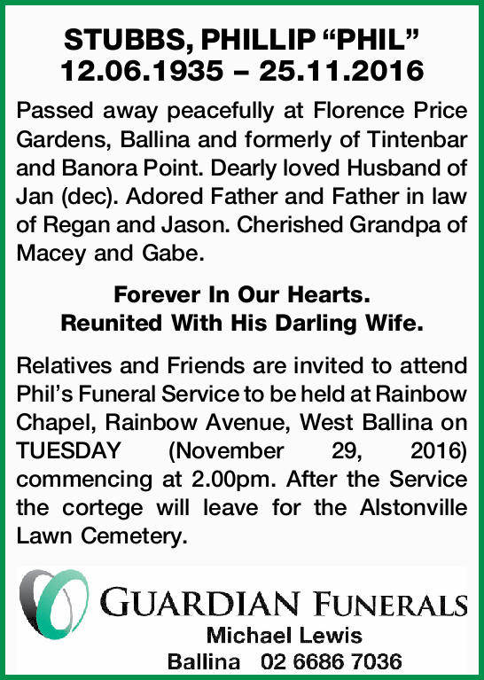 12.06.1935 – 25.11.2016 Passed away peacefully at Florence Price Gardens, Ballina and...