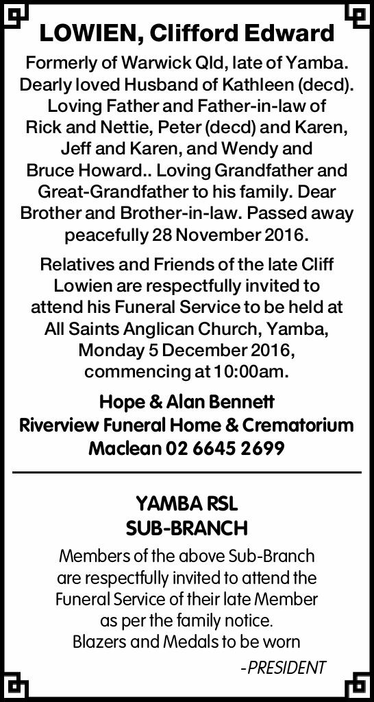 Formerly of Bellata, late of Yamba. Dearly loved Husband of Kathleen (decd). Loving Father...