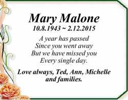 Mary Malone 10.8.1943 ~ 2.12.2015 A year has passed Since you went away But we have missed you Ev...
