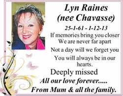 Lyn Raines (nee Chavasse) 25-1-61 - 1-12-13 If memories bring you closer We are never far apart N...