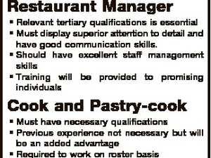 KC's Pies and Bistro A busy Cafe/Restaurant based in Moranbah QLD is recruiting the following positions Restaurant Manager * Relevant tertiary qualifications is essential * Must display superior attention to detail and have good communication skills. * Should have excellent staff management skills * Training will be provided to promising individuals Cook ...