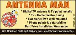 * Digital TV antenna & TV point installs * TV / Home theatre tuning * Flat planel TV's wall...