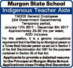 Murgon State School Indigenous Teacher Aide TAOO2 General Employees (Qld Government Departments) Tem...
