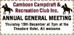 Camboon Campdraft & Recreation Club Inc. ANNUAL GENERAL MEETING Thursday 15th December at 7pm...