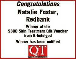 Congratulations Natalie Foster, Redbank Winner of the $300 Skin Treatment Gift Voucher from B-Indulg...