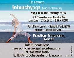 Flo Fenton's intouchyoga teacher training Yoga Teacher Trainings 2017 Full Time-Lennox Head NSW...